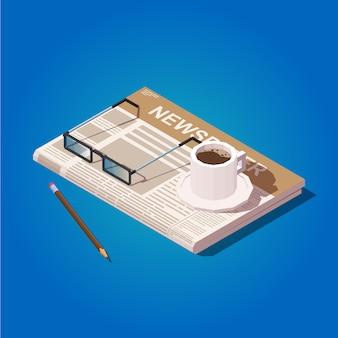 新聞、読書用メガネ、コーヒー