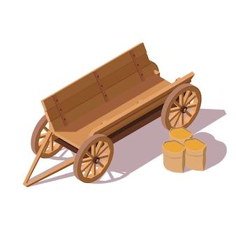 Старый деревянный фургон с мешками зерна