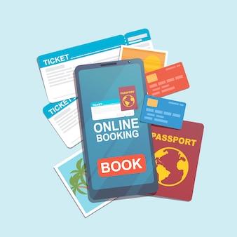 オンライン予約アプリ、チケット、クレジットカード、パスポート、写真付きのスマートフォン