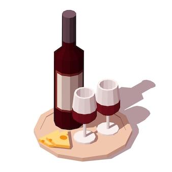 トレイにチーズと赤ワイン