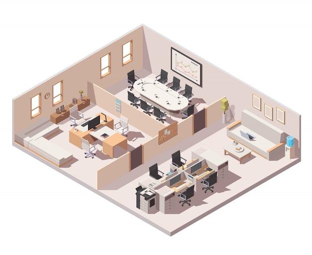 企業のオフィスのインテリアアイコン