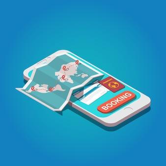 オンライン予約のコンセプト。世界地図、パスポート、航空券を備えたスマートフォン