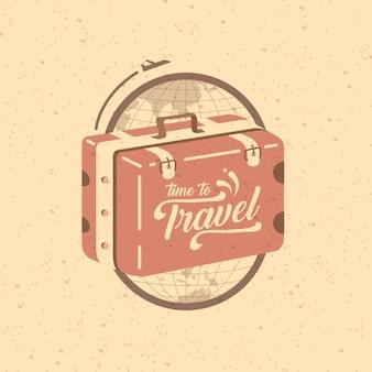 旅行の時間。地球と旅行スーツケースのロゴ