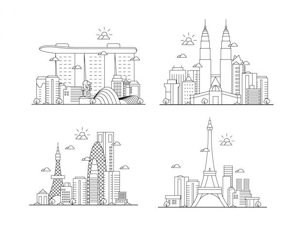 細い線の素晴らしい都市景観のセット