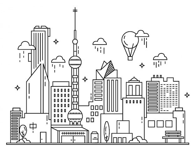 Современная иллюстрация городской линии