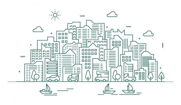 Современная иллюстрация большого города