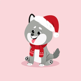 サンタの帽子とスカーフでハスキーの子犬とクリスマスイラスト。ベクター。