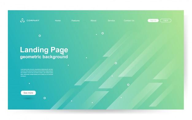幾何学的形状の背景を持つウェブサイトテンプレート