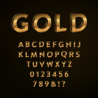 Дизайн золотого алфавита