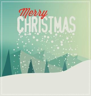 風景とタイポグラフィクリスマスカード