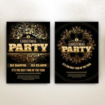 Шаблон рождественских вечеринок с сияющими огнями - черный и золотой