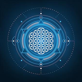 人生の幾何学的な精神的なデザインの抽象的な花