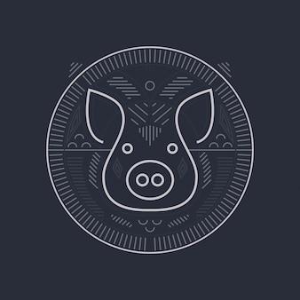 豚のシンボルのデザイン - ラインアートスタイルの豚の頭のイラスト