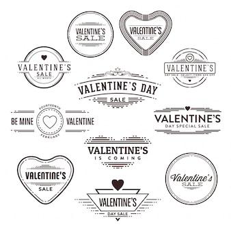 バレンタインのタイポグラフィーバッジセット
