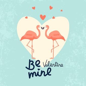 バレンタインデーのためのフラミンゴカップルイラスト