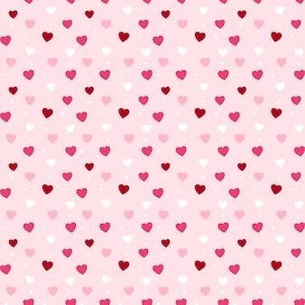 バレンタインデーのためのシームレスな心のパターン