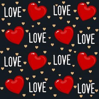 心とタイポグラフィーとかわいいバレンタインデーのシームレスパターンデザイン