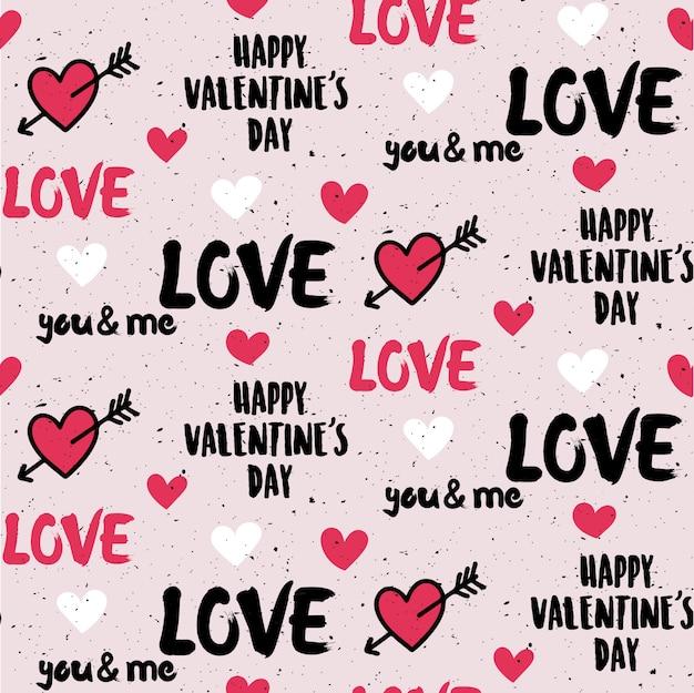 グランジスタイルのバレンタインデーのシームレスパターン