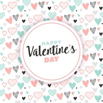 ハート柄の背景とバレンタインの挨拶