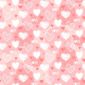 バレンタインデーのためのかわいいシームレスなハート柄