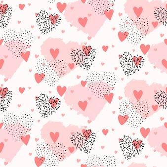 バレンタインデーのためのかわいいシームレスなハート柄デザイン