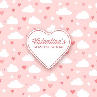 バレンタインデーのためのかわいい雲と心のパターン