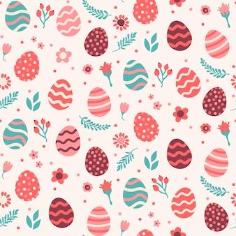 卵と花のシームレスなパターン