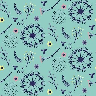かわいい植物とのシームレスな植物パターンデザイン