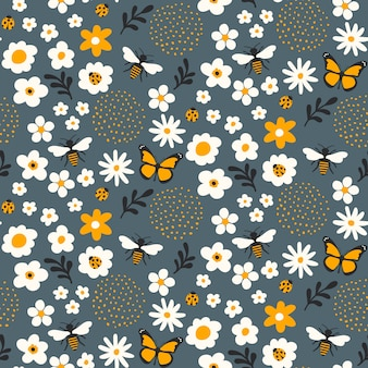 Бесшовный цветочный узор с пчелами и жуками