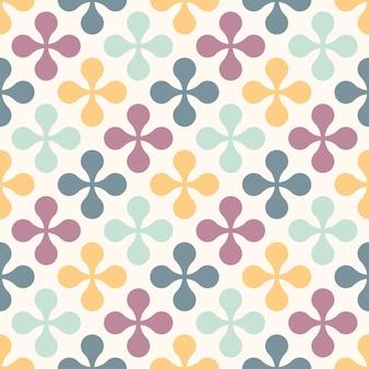 花とのシームレスなレトロパターン