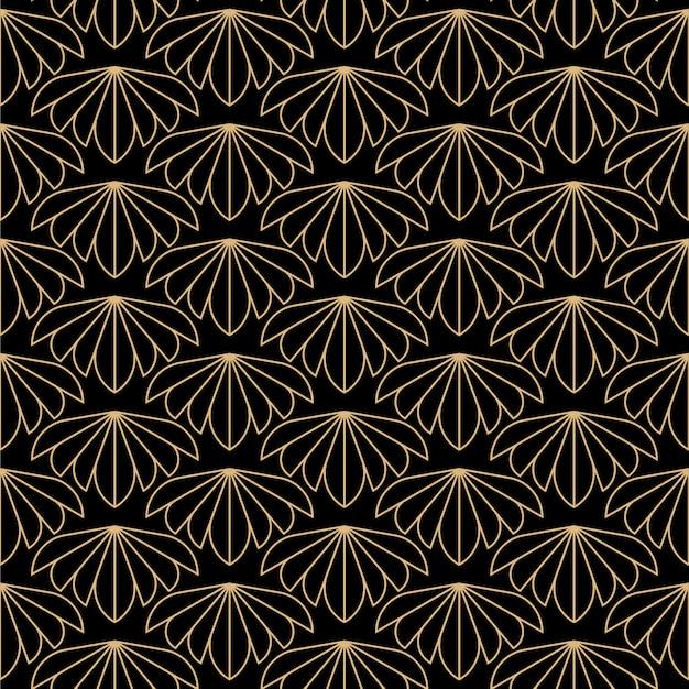 アールデコ花のシームレスパターン