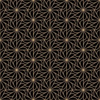 アールデコ花のシームレスなパターンデザイン