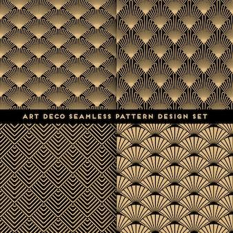 アールデコスタイルのシームレスパターンデザインセット