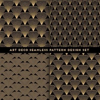 アールデコスタイルのシームレスなパターンセット