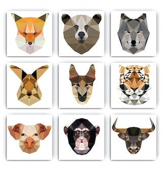 多角形の幾何学的な動物の肖像画セット