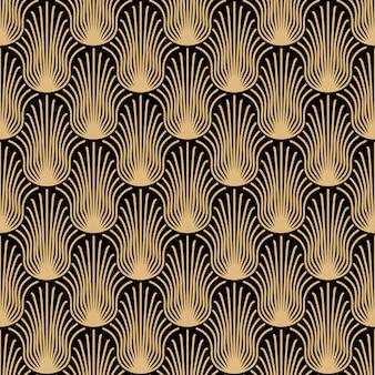 アールデコゴールドシームレスパターン