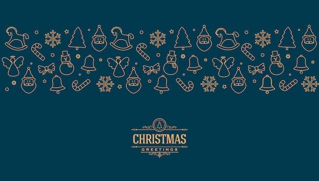 Рождественская открытка с элементами золотой линии
