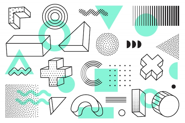 ハーフトーンの幾何学的図形セット