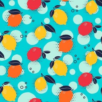 ポップアートスタイルの柑橘類のシームレスパターン