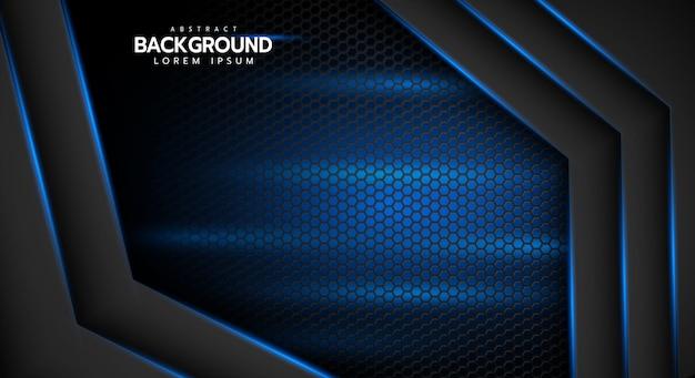 六角形メッシュデザインモダンで豪華な未来的な背景に抽象的な線の方向