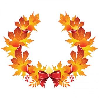 Осенний венок с красной лентой