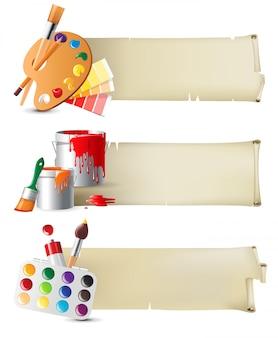 Баннеры с инструментами для рисования