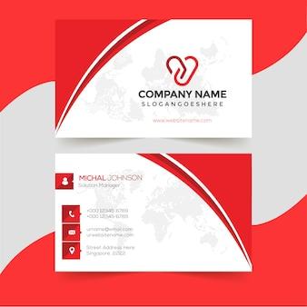 赤い形の訪問カードテンプレート