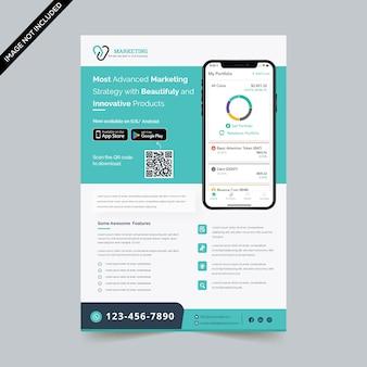 Творческий шаблон флаера для мобильных приложений
