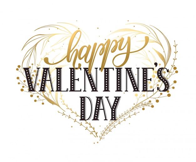 Современная каллиграфия на день святого валентина. романтическая открытка в золотых тонах.