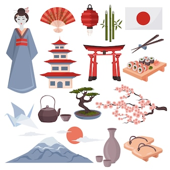 Набор японских символов и элементов