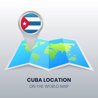 世界地図上のキューバの場所アイコン