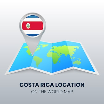 世界地図上のコスタリカの場所アイコン