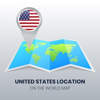 世界地図上のアメリカ合衆国の場所アイコン