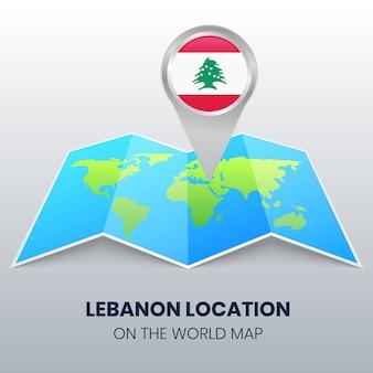 Значок местоположения ливана на карте мира, круглый значок булавки ливана